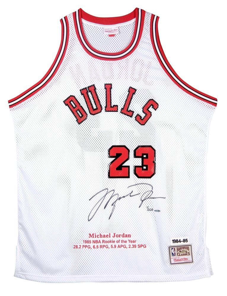 Michael Jordan Signed Bulls Mitchell & Ness Rookie Year Highlight Stat Jersey (UDA COA) at PristineAuction.com