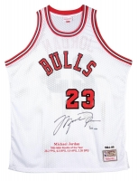 Michael Jordan Signed Bulls Mitchell & Ness Rookie Year Highlight Stat Jersey (UDA COA)