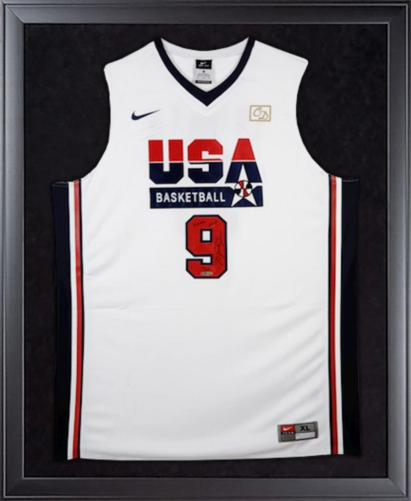 "Michael Jordan Signed Team USA LE 32x44 Custom Framed Jersey Display Inscribed ""HOF 2009"" (UDA COA) at PristineAuction.com"