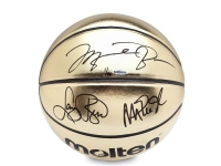Michael Jordan, Magic Johnson & Larry Bird Signed Molten Gold Trophy LE Basketball (UDA COA) at PristineAuction.com