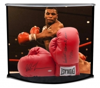 "Mike Tyson Signed 16x19x12 Boxing Gloves Curve Display Inscribed ""Baddest Man On The Planet"" & ""44 KO's"" (UDA COA)"