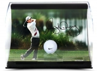 "Rory McIlroy Signed ""Holding the Finish"" 11x7x5 Limited Edition Range Driven Golf Ball Curve Display (UDA COA) at PristineAuction.com"