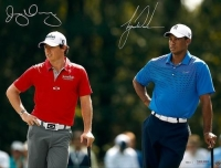 "Tiger Woods & Rory McIlroy Signed ""Focus"" 16x24 Photo (UDA COA)"