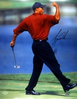 "Tiger Woods Signed ""Fist-Pump"" 16x20 Photo (UDA COA) at PristineAuction.com"