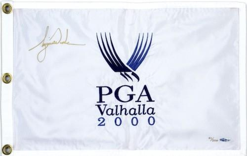 """Tiger Woods Signed LE """"2000 PGA Champ"""" Pin Flag (UDA COA) at PristineAuction.com"""