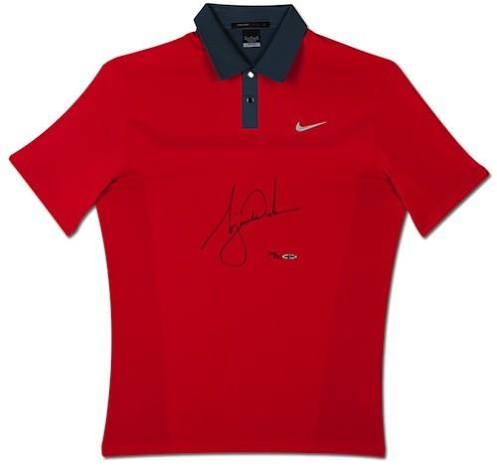 Tiger Woods Signed LE 2013 Sunday Red Polo Shirt (UDA COA) at PristineAuction.com