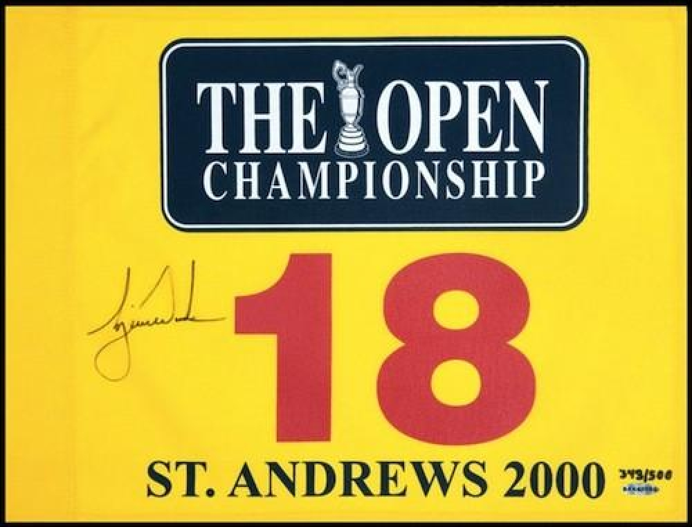 "Tiger Woods Signed LE ""2000 British Open"" Pin Flag (UDA COA) at PristineAuction.com"