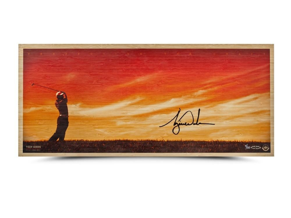 "Tiger Woods Signed ""Perfecting The Craft"" LE 11x26 Bamboo Print (UDA COA) at PristineAuction.com"