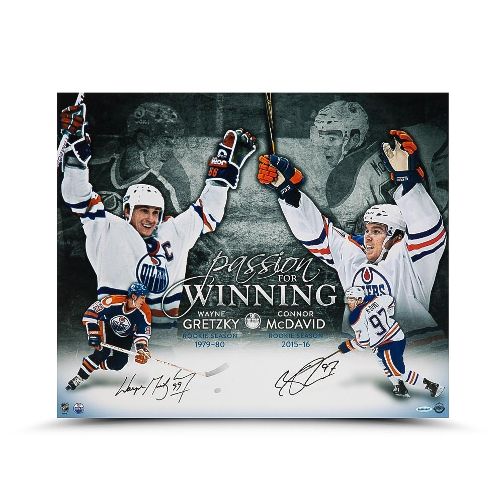 "Wayne Gretzky & Connor McDavid Signed Oilers ""Passion For Winning"" 20x24 Photo (UDA COA) at PristineAuction.com"