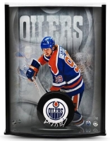 Wayne Gretzky Signed Edmonton Oilers Limited Edition 8x11x3 Custom Framed Hockey Puck Curve Display (UDA COA) at PristineAuction.com