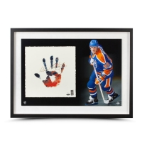 Wayne Gretzky Signed Edmonton Oilers 20x28 Custom Framed Limited Edition Tegata Lithograph Display (UDA COA) at PristineAuction.com