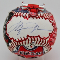 Michael Jordan Signed Charles Fazzino Custom Hand-Painted 3D Pop Art Baseball with Swarovski Crystals (JSA LOA & UDA)