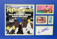 """The Simpsons"" 17x23 Custom Framed Collage Display Signed by (4) with Nancy Cartwright, Yeardley Smith, Julie Kavner & Dan Castellaneta (JSA LOA)"