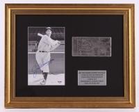 Joe Dimaggio Signed Yankees 17x22 Custom Framed Photo Display (PSA LOA)
