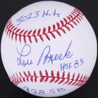 """Lou Brock Signed OML Baseball Inscribed """"HOF 85"""", """"3023 Hits"""", & """"938 SB"""" (JSA COA)"""
