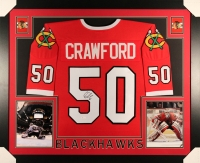 Corey Crawford Signed Blackhawks 35x43 Custom Framed Jersey (JSA COA)