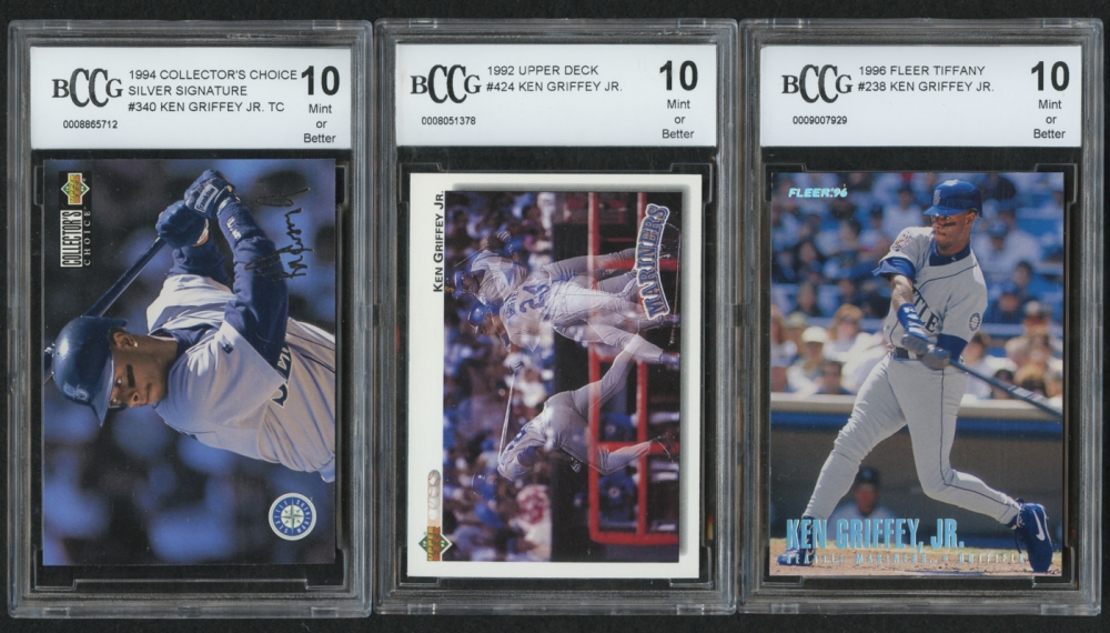 f46b180aea Lot of (3) BCCG Graded 10 Ken Griffey Jr. Baseball Cards with 1992