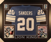 Barry Sanders Signed Lions 35x43 Custom Framed Jersey (Schwartz Sports COA)
