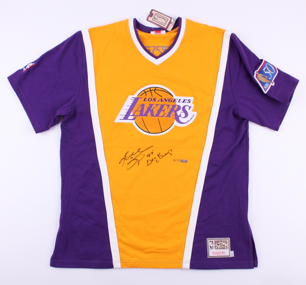 29ace5f3093 Kobe Bryant Signed LE Lakers Authentic Mitchell   Ness Shooting Shirt  Inscribed