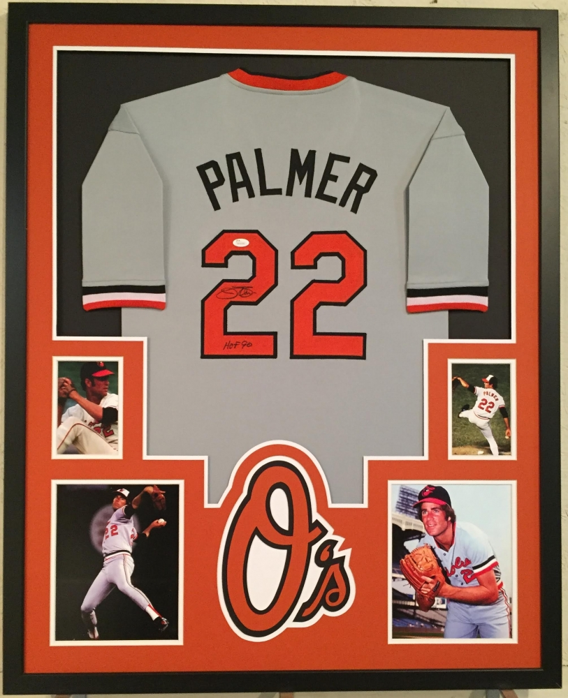 d5220fbf6 Jim Palmer Signed Orioles 34x42 Custom Framed Jersey Inscribed