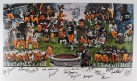 "Steelers ""Hall of Famers and Stars"" 24x38 Lithograph Signed by (40+) Terry Bradshaw, Chuck Noll, Mike Webster, Joe Greene, Lynn Swann (JSA LOA)"