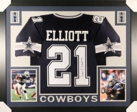 Ezekiel Elliott Signed Cowboys 35x43 Custom Framed Jersey (JSA) at PristineAuction.com