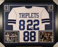 "Troy Aikman, Emmitt Smith, & Michael Irvin Signed Cowboys ""Triplets"" 35x43 Custom Framed Jersey (GTSM)"