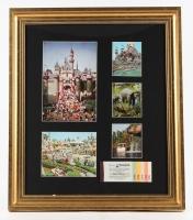 "Vintage ""Disneyland"" 15x21 Custom Framed Photo Display with Full Vintage Ticket Book"