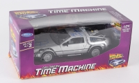 "Michael J. Fox & Christopher Lloyd Signed ""Back to the Future"" DeLorean 1:24 Diecast Car (JSA COA) at PristineAuction.com"