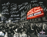 2016 Chicago Cubs Team Signed Chicago Cubs 2016 World Series Wrigley Field Marquee 16x20 Photo (23 Sigs) at PristineAuction.com