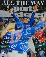 2016 Chicago Cubs Team Signed Chicago Cubs 2016 World Series Anthony Rizzo Sports Illustrated Cover 16x20 Photo (23 Sigs) at PristineAuction.com