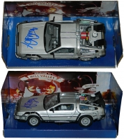 Michael J Fox Signed Back To The Future Part II 1:24 Scale Die Cast Delorean Time Machine Car at PristineAuction.com