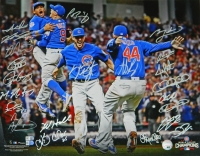 2016 Chicago Cubs Team Signed Chicago Cubs 2016 World Series Infielders Celebration 16x20 Photo (23 Sigs) at PristineAuction.com