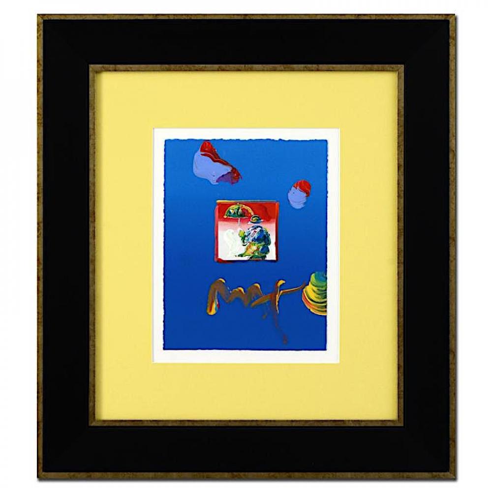 peter max umbrella man signed 85 x 11 original acrylic mixed media