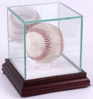 Premium Single Baseball Glass Display Case with White Suede & Cherry Wood Base & Mirrored Back at PristineAuction.com