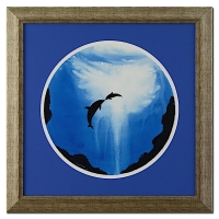 "Wyland ""Two Dolphins"" Signed Original Watercolor on 19"" Round Deckle-Edge Paper (Custom Framed to 30.5"" x 30.5"") at PristineAuction.com"