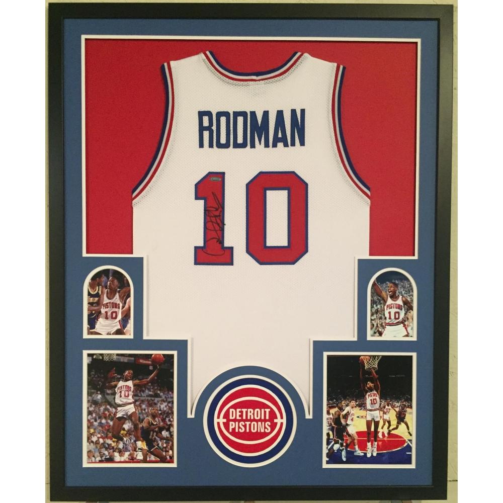 Dennis Rodman Signed Pistons 34x42 Custom Framed Jersey (TriStar Hologram) a220d9710