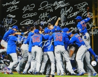 2016 Chicago Cubs Team Signed Chicago Cubs 2016 World Series Pile Up Celebration 16x20 Photo (24 Sigs) at PristineAuction.com