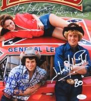 """Catherine Bach, Tom Wopat & John Schneider Signed """"The Dukes of Hazzard"""" 11x14 Photo Inscribed """"Daisy"""",""""Luke"""" & """"BO"""" (JSA COA)"""