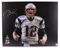"Tom Brady Signed Patriots LE ""Super Bowl 49 Touch Down Scream"" 32x40 Stretched Canvas (TriStar Hologram & Steiner COA)"