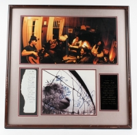 "Eddie Vedder, Jeff Ament, Stone Gossard, Mike McCready & Dave Abbruzzese Signed ""Pearl Jam"" 28x28 Custom Framed Record Album Display with Vedder Handwritten Lyrics (JSA LOA)"