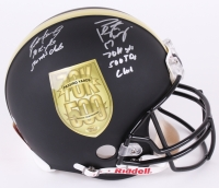 "Brett Favre & Peyton Manning Dual-Signed LE ""70K Passing Yards & 500 Passing Touchdowns Club"" Custom Matte Black Full-Size Authentic Pro-Line Helmet #30/150 (Favre COA & Fanatics Hologram)"