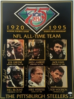 "Steelers ""75th Anniversary"" 18x24 Poster Signed By (6) with Joe Greene, Jack Lambert, Jack Ham (JSA COA) at PristineAuction.com"