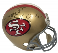 "Joe Montana & Dwight Clark Signed ""The Catch"" 49ers Full Size Helmet with Hand-Drawn Play (JSA COA)"