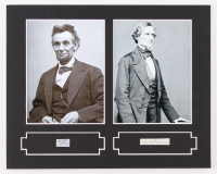 Abraham Lincoln & Jefferson Davis 8x10 Custom Matted Display with (2) Hand-Written Words from Document (PSA LOA Copy)