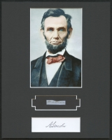 Abraham Lincoln 8x10 Custom Matted Display with (1) Hand-Written Word from Document (PSA LOA Copy)