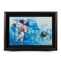 "Connor McDavid Signed Edmonton Oilers ""Commanding"" 16x24 Custom Framed Hockey Puck Break Through Display (UDA COA)"