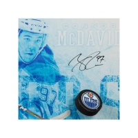 "Connor McDavid Signed Edmonton Oilers ""Commanding"" 16x24 Custom Framed Hockey Puck Break Through Display (UDA COA) at PristineAuction.com"