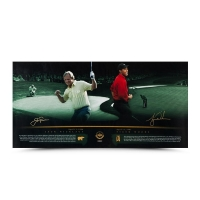 "Tiger Woods & Jack Nicklaus Signed ""Masterful"" 18x36 Photo (UDA COA)"