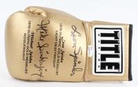 "Leon Spinks & Michael ""Jinx"" Spinks Signed Career Highlights Gold Title Boxing Glove (JSA COA)"